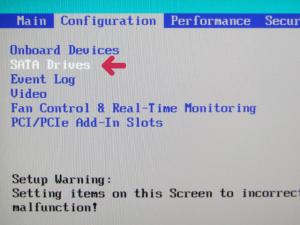 BIOSのSATA設定ページへの入口